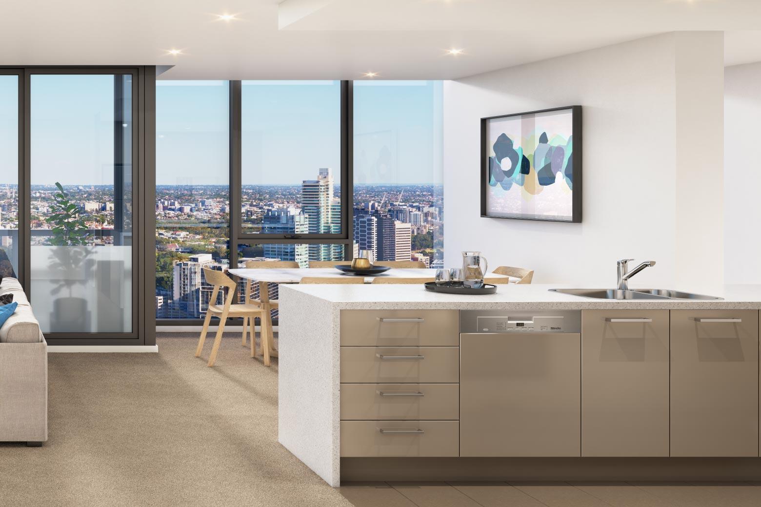 > 厨房配有优质石台面及德国miele厨房设备.