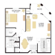 1 Bed 1 Bath PLAN VI